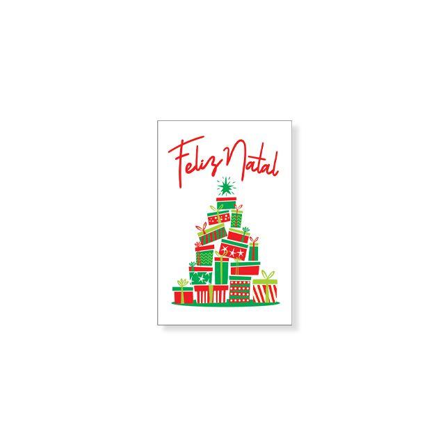 Cartão Branco Feliz Natal árvore De Natal Tamanho Mini Arte Em Papel