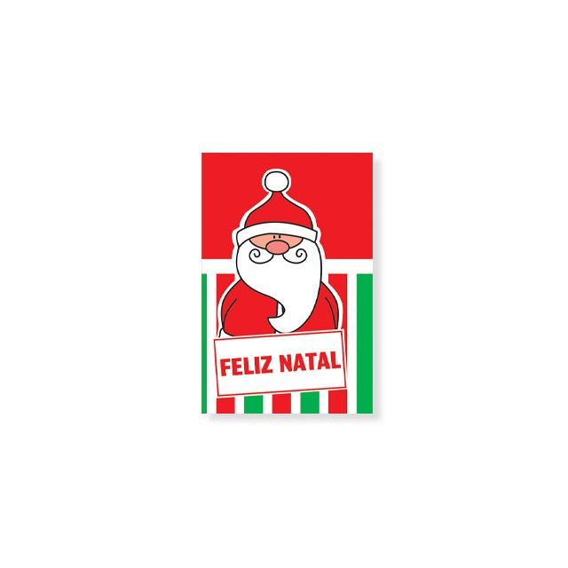Cartão Vermelho E Verde Feliz Natal Papai Noel Tamanho Mini Arte