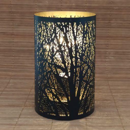 Luminária Preta E Ouro Vazada
